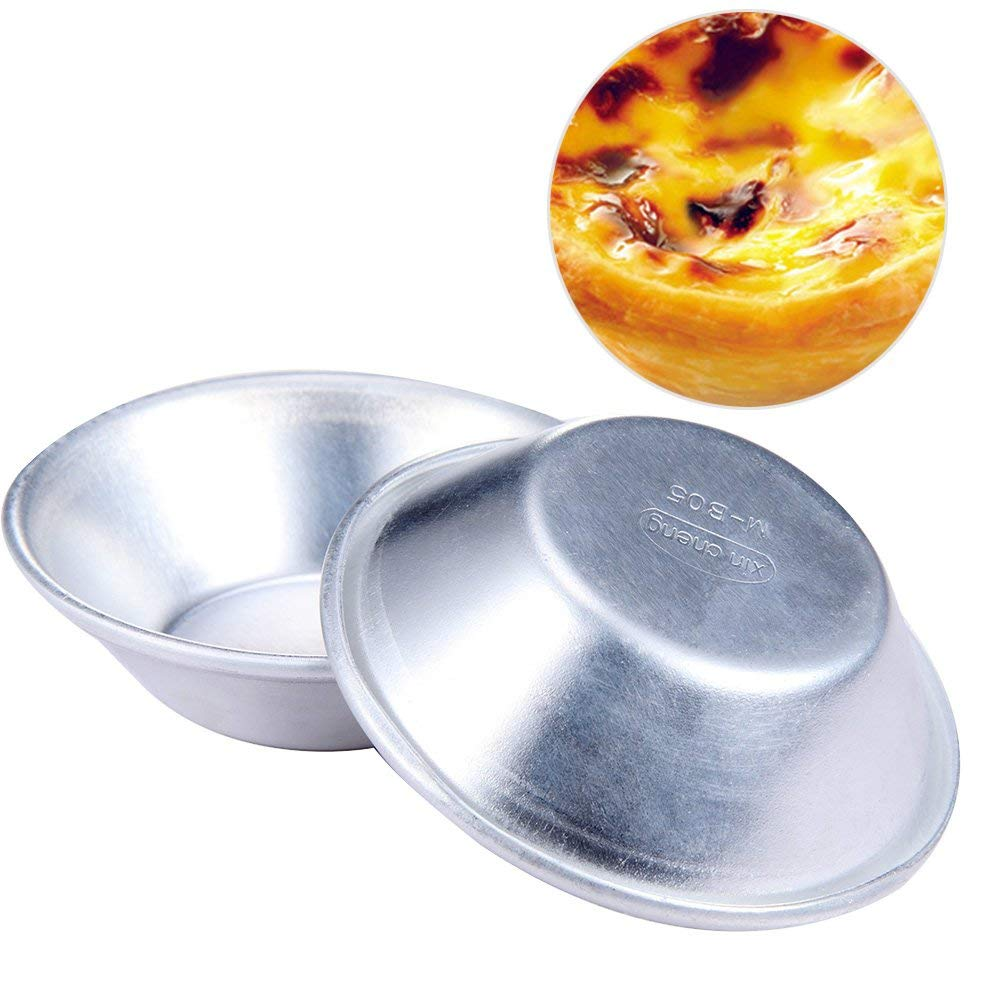 10pcs/set Egg Tart Mold Cake Style Oven Bake Round Custard Tin Aluminum alloy Muffin Cupcake Cases Baking Bakeware Cake Tool(10pcs,silver)