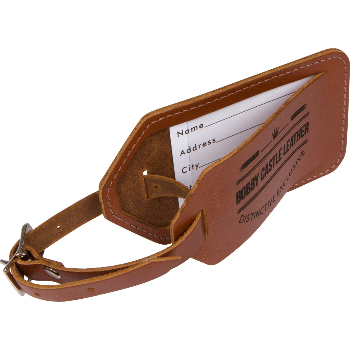 Bobby Castle Genuine Leather Luggage Tag MADE IN THE USA Bag Tag travel tag Unique Luggage ID Tag with Privacy Flap and Suitcase Label for Easier Safe Secure Airline Business Travel