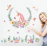 PVC Unicorn Wall Art Sticker Brief and Lovely More Happiness