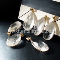NEW! Nature rough crystal quartz pendants, cabochon faceted raw crystal quartz pendants with 24k gold plated bezel WT-P322