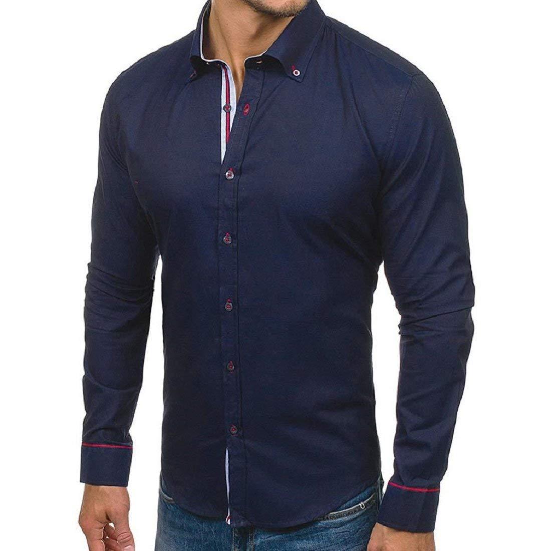 35b4144980a8 Get Quotations · GONKOMA Mens Shirts Men's Long Sleeve Shirt Casual Solid Slim  Fit Dress Shirt Stand Collar Shirt