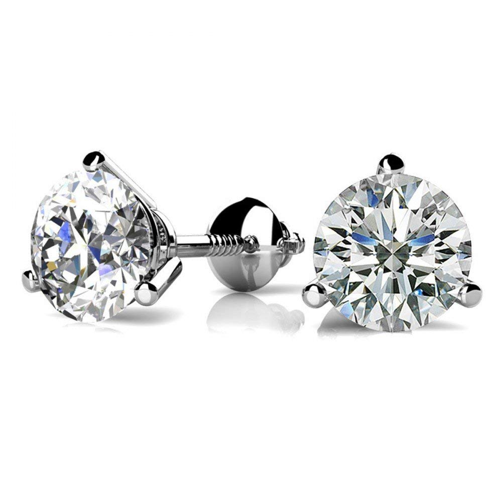 1/4 - 2 Carat GIA Certified Round Diamond Stud Earrings 3 Prong Screw Back (D-E Color VS1-VS2 Clarity)