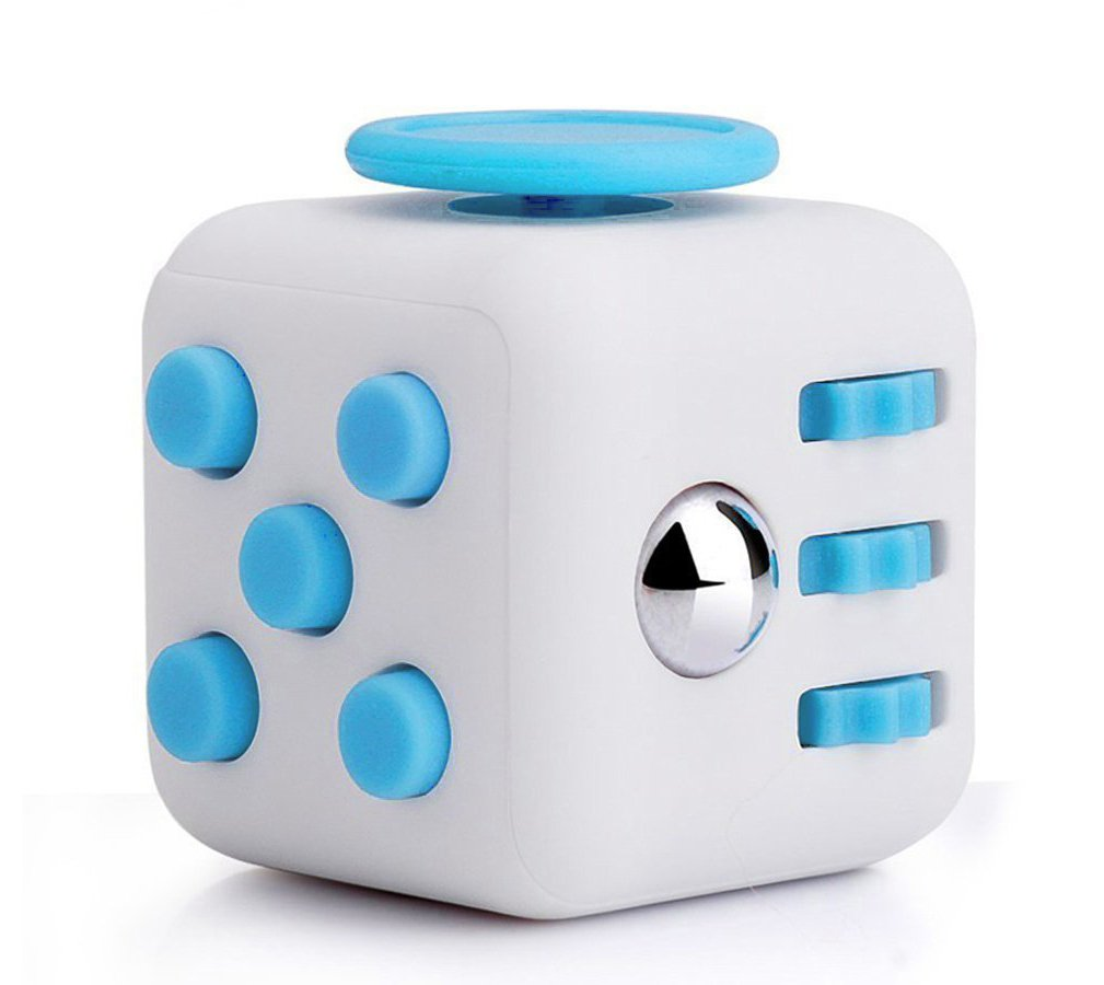 TIIYAR Fidget Cube - Fidget Block Reduce Stress Help Focuse Anti-Stress/Anxiety (White/Blue)