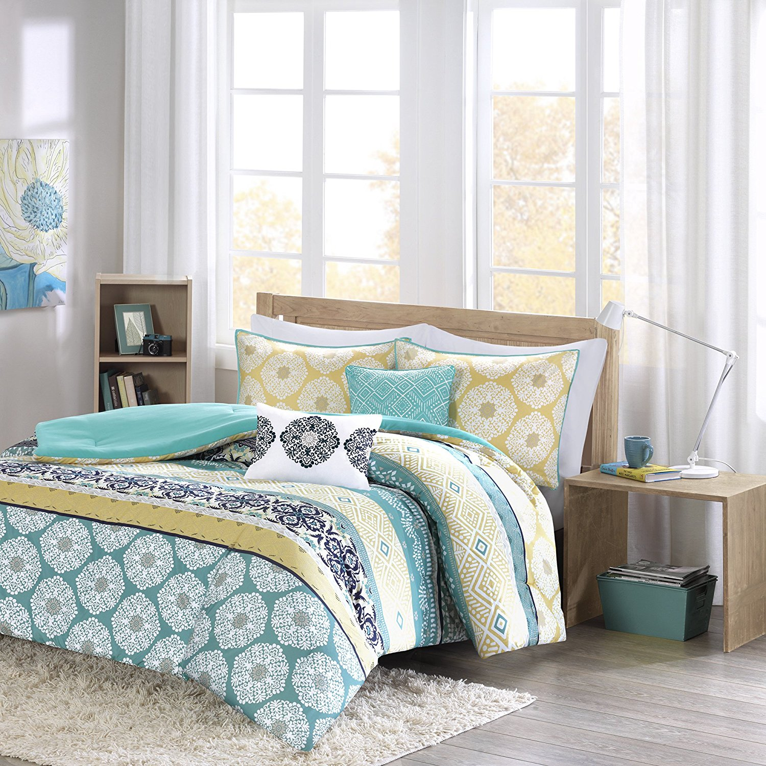 ID & DH Comforter Sets For Teen Girls Full Queen Twin Bedding Kids Aqua Teal Blue Yellow Perfect For Home or Dorm Rooms; Bundle Includes Exclusive Sleep Mask From Designer Home (Twin/Twin XL)