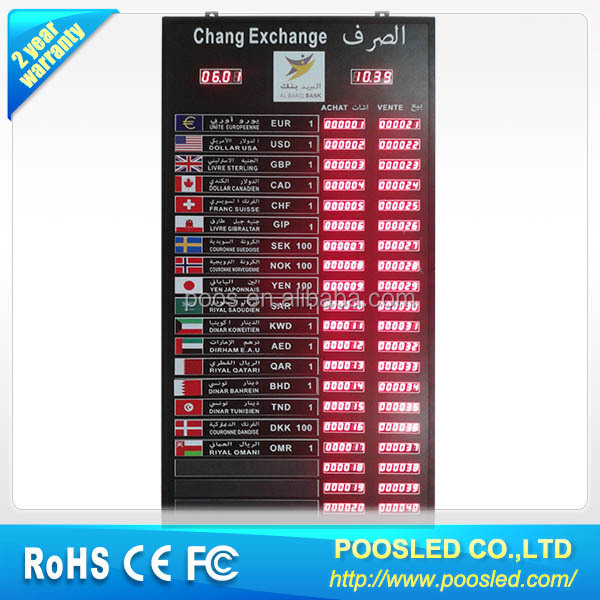 Led Bank Exchange Sign Currency Panel Rate Display For Indoor
