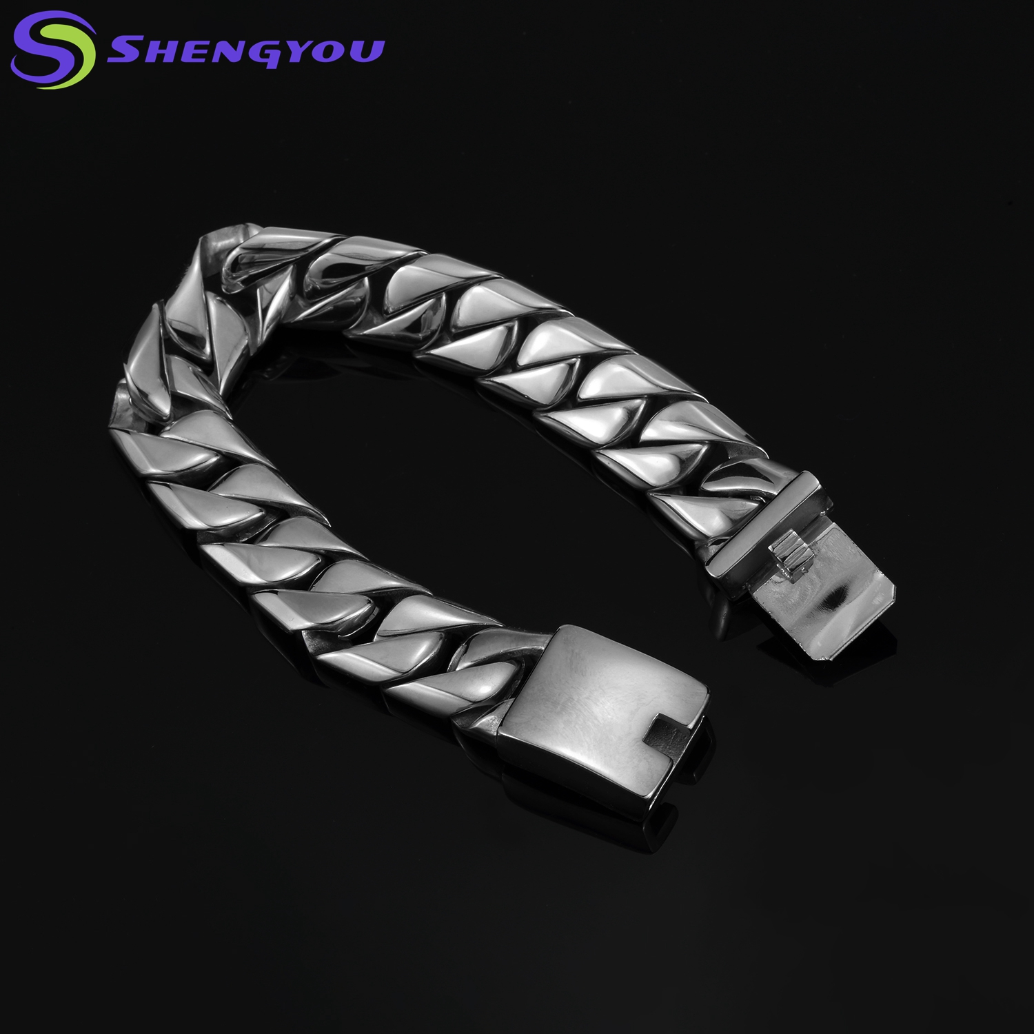 Fashionable  Men Power Stainless Steel Thick Chain Bracelet Jewelry