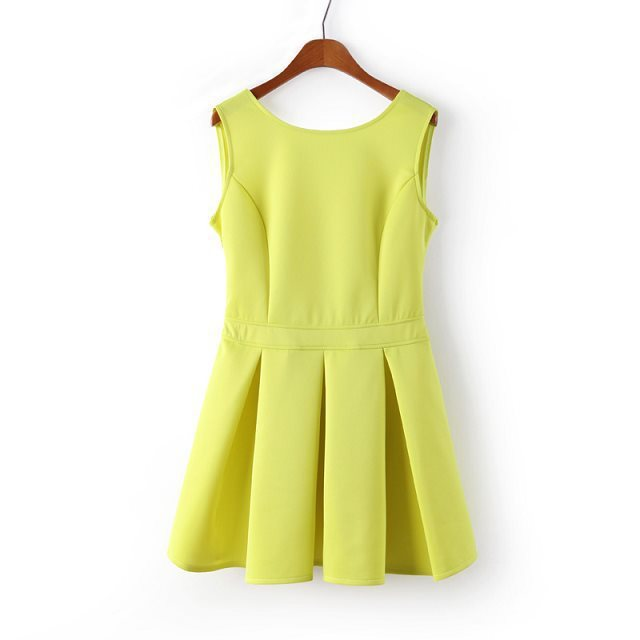 b5ecd39acecb Get Quotations · Women Neon Green Open Back Backless Skater Dresses 2015  Sexy Plus Size Mini Party Sundress Tunics
