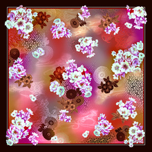 Custom own design silk scarf 90x90 for women