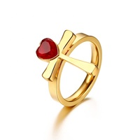 Jewelry 2019 Christmas gift 18K gold women heart shape ruby single one stone cross finger ring