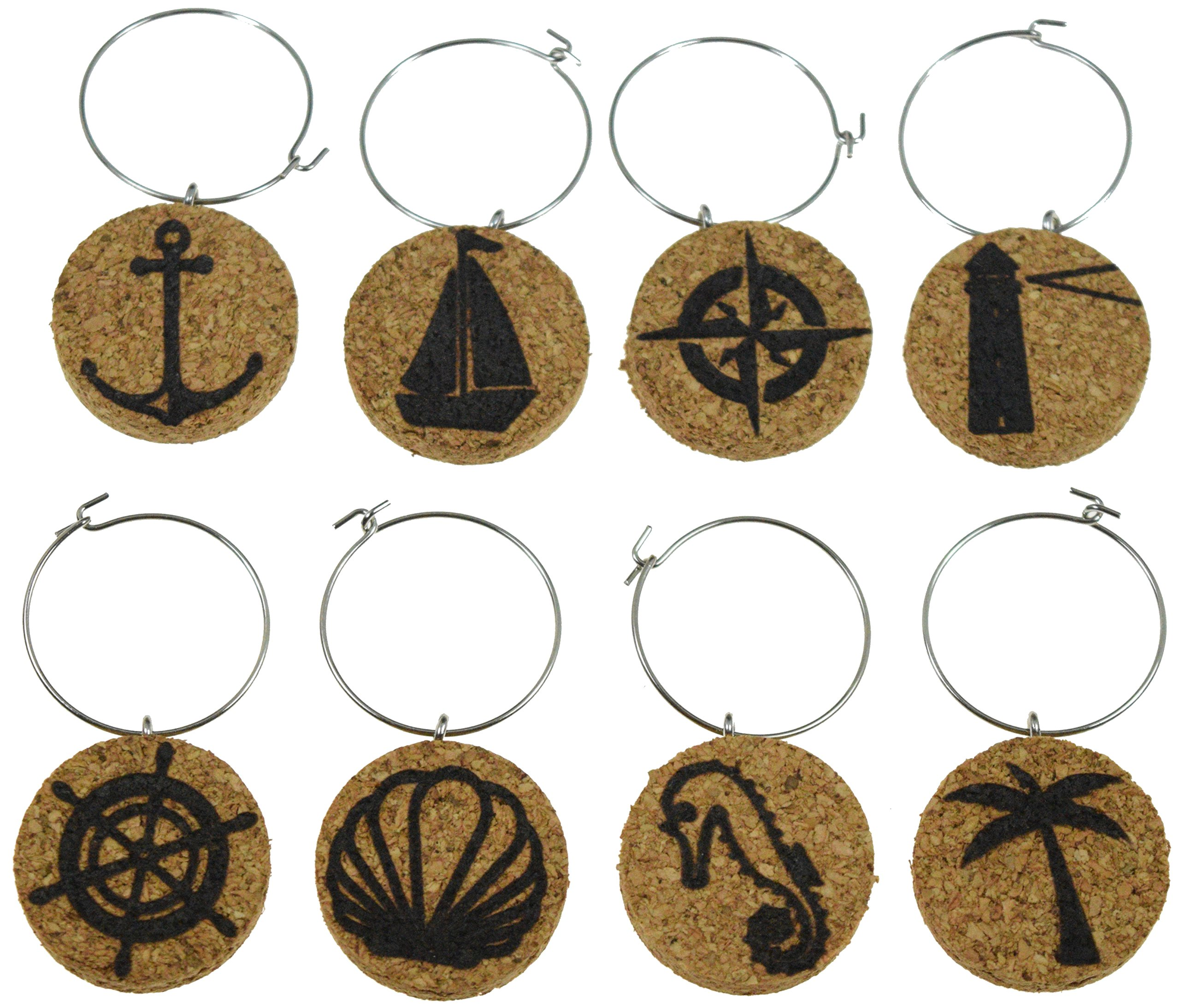 Cork Wine Glass Charms (20+ Unique Designs) - Set of 8 - Nautical Designs Including Anchor, Sail Boat, Compass, Light House, Palm Tree, Shell, Sea Horse - Tags to Mark Your Drinks … (Nautical)
