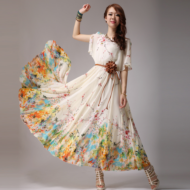 Quality 2015 fashion summer print chiffon dress plus size ...