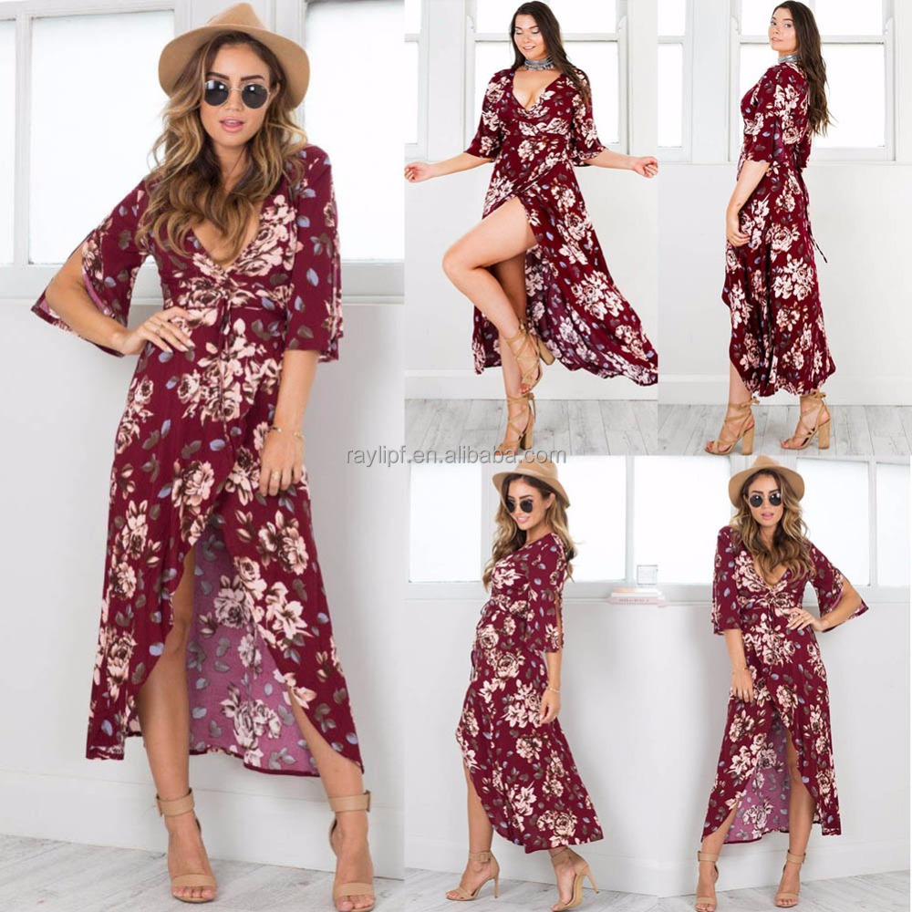 flower dresses women Latest Dress Designs 2017 Sexy Long Dress OEM Women Garment Clothing