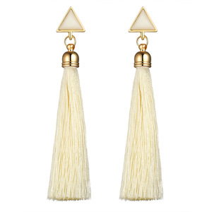 National Style Triangle Shape White Turquoise Silk Thread Long Tassel Earring For Woman