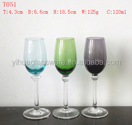 High quality red wine three color glass red wine glass goblet for sale