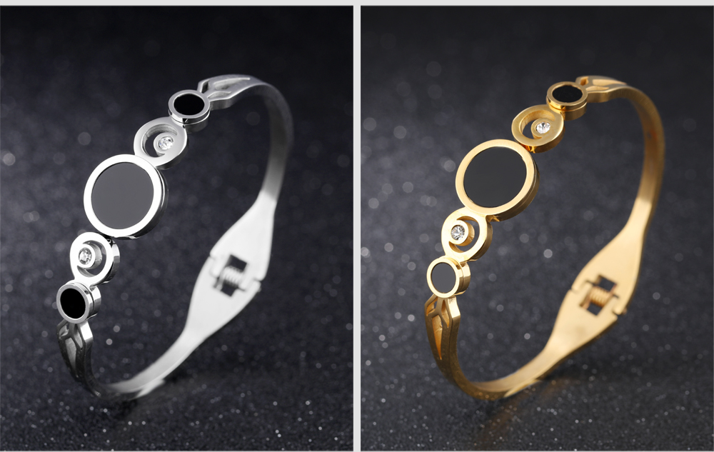 Wholesale New Design Zircon Stainless Steel 18K Gold Plated Bangle
