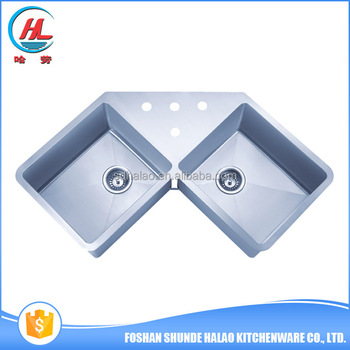 High Class Double Bowl Stainless Steel Hand Made Triangle Kitchen ...
