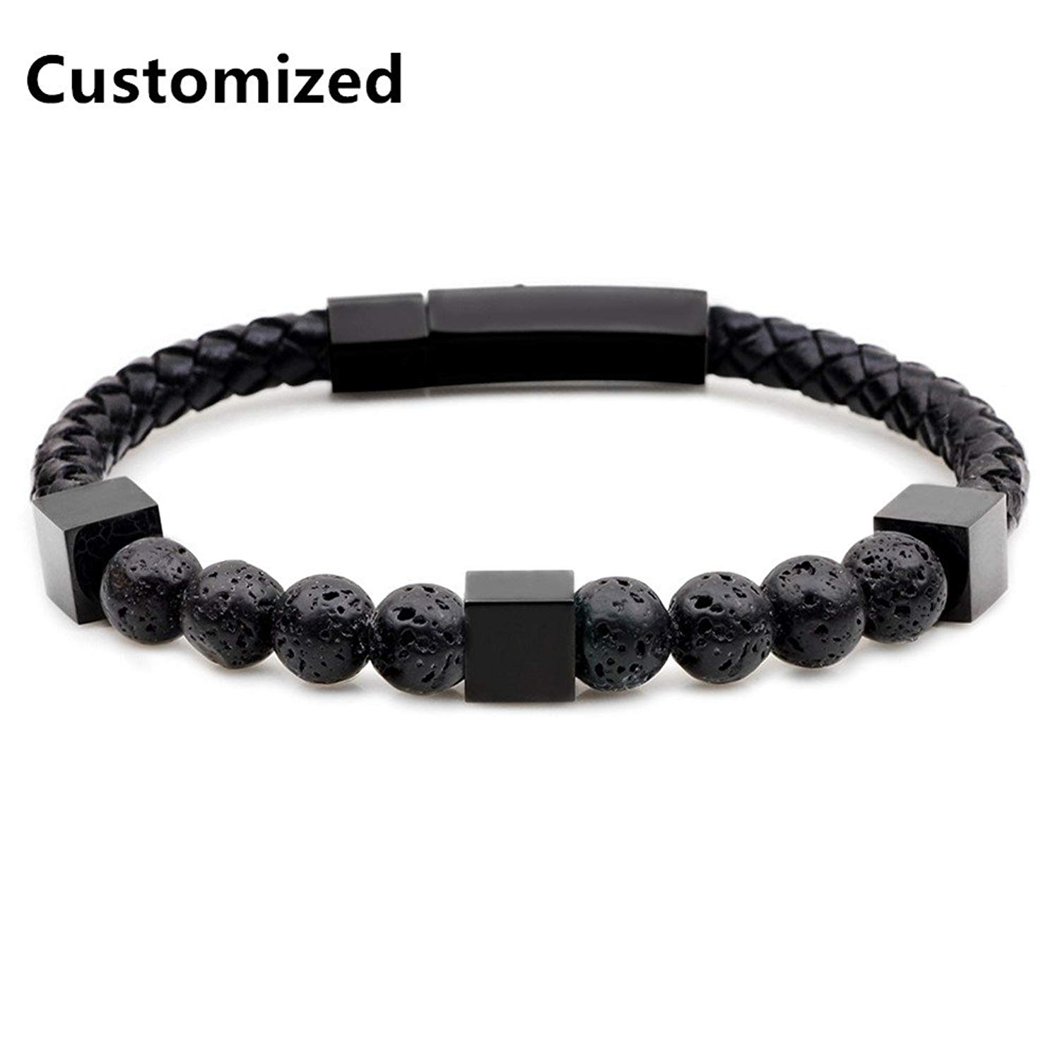 LF Mens Stainless Steel Handmade Genuine Leather Personalized Name Custom Matte Lava Rock Chakras Essential Oil Diffuser Bracelet for Boyfriend Husband Son BFF Gift,Free Engraving Customized
