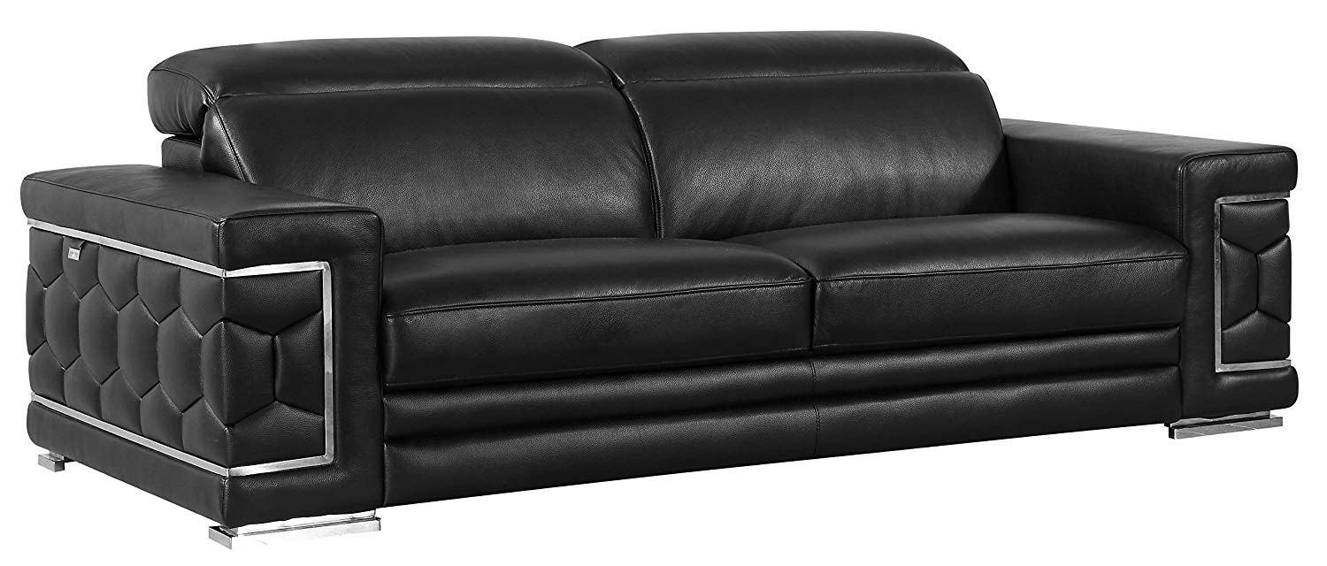 Blackjack Furniture 692-S-BLACK 692-Black-S Italian Leather Sofa