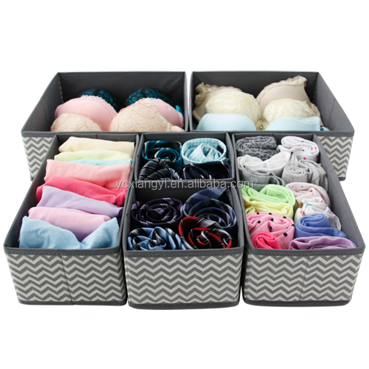 insertos para cajones de ropa interior Organizadores de cajones calcetines M/&W Cajas de almacenamiento de tela plegables Sujetador juego de 12