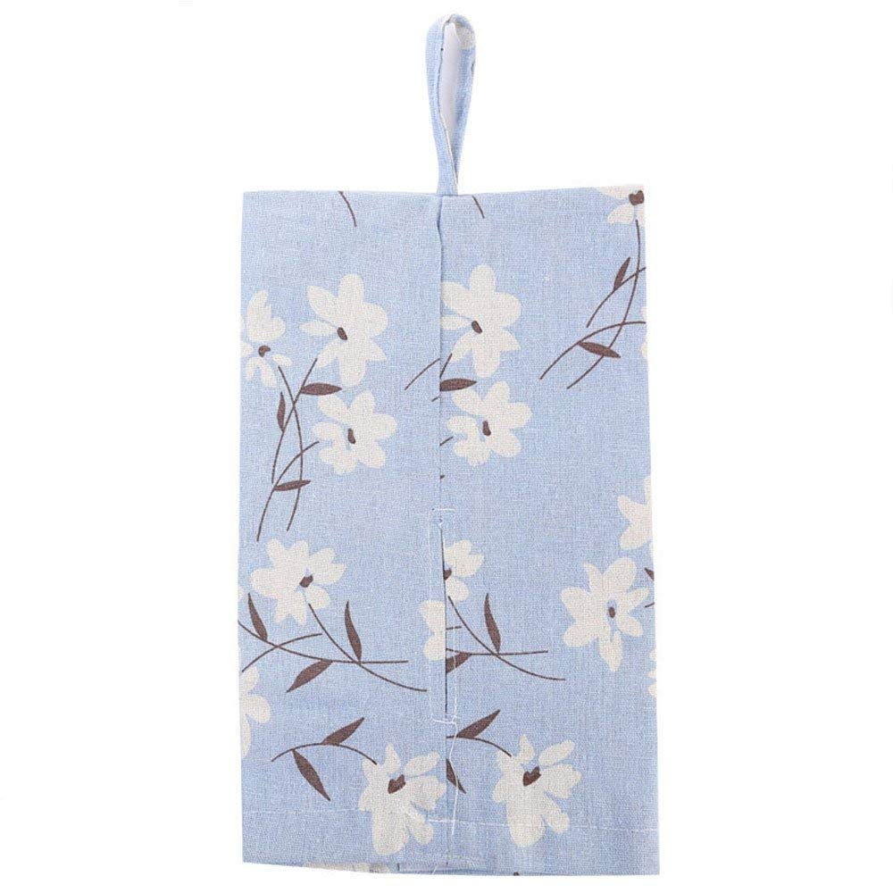 Everyfit Hanging Facial Tissue Box Holder Cover Paper Towel Bag Holder Container Case Breathable Linen Hanging Napkin Case Bag Tissue Holder Dispenser Linen for Car Bathroom Kitchen(Magnolia Flower)