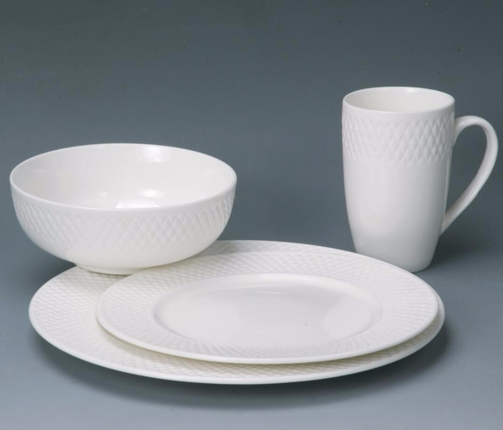 Royal ceramic fine new bone china embossed white dinnerware set porcelain tableware