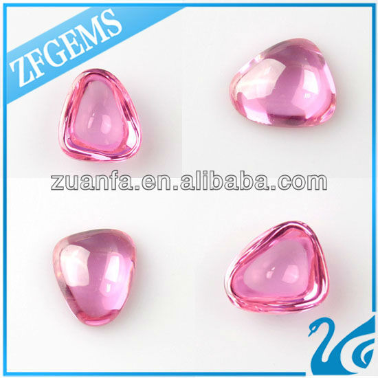 synthetic pink flat back cabochon cz french cut diamonds