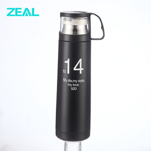 zeal with plastic lid cup double wall vacuum flask made in china