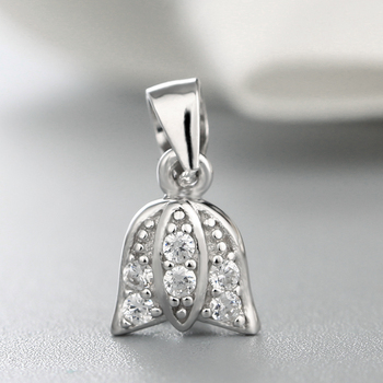 Sterling Silver Rose Shaped Pendant Pinch Bails,Crystal ...
