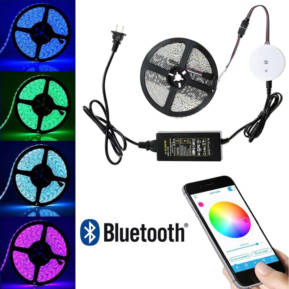 300 LED Bluetooth Strip Light 5050 Soft Article Lights 5.47 Yard 12V Colorful RGB Kit Phone APP Control 5A (Waterproof, A)