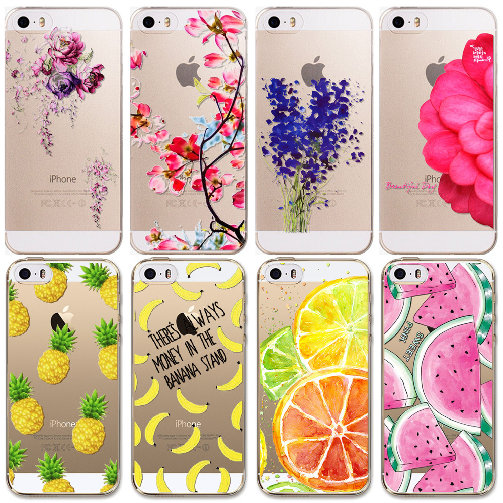 For Apple iPhone 5 5S SE Case New Arrival Hot Soft TPU Flowers Friuts Painted Phone