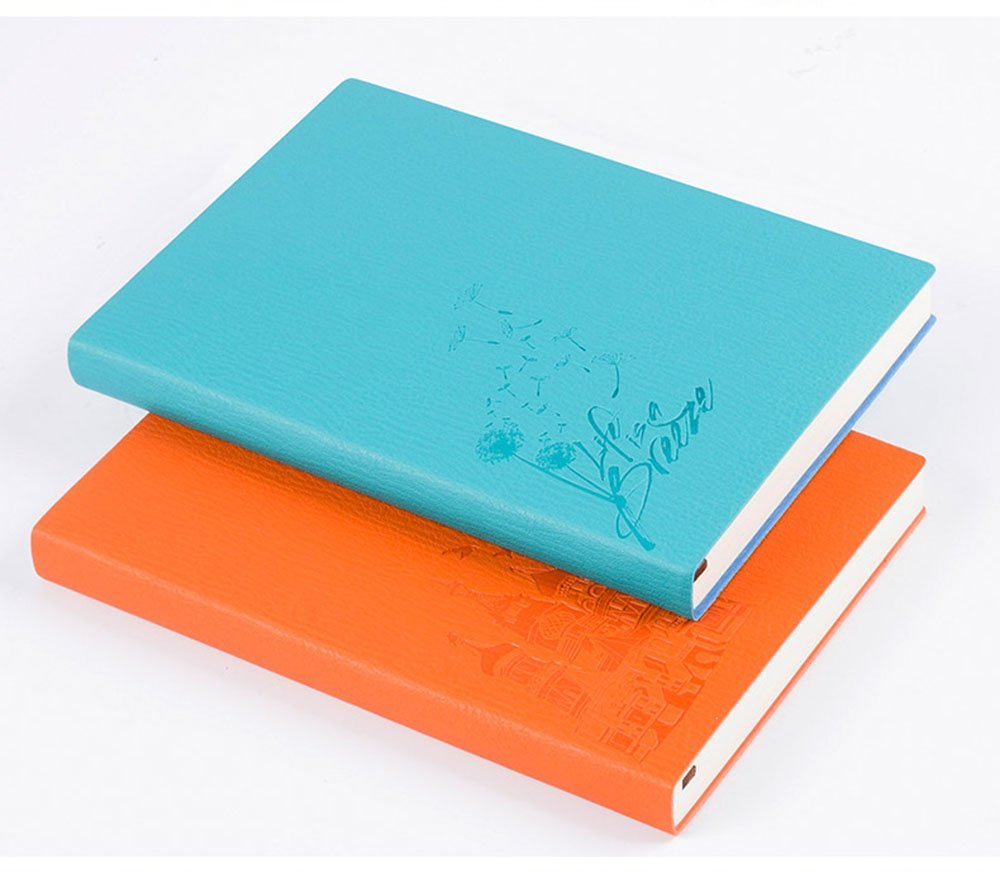 DEBON Thickened A5 Notebook Soft Color-change PU Leather Cover 104 Sheets 208 Pages Elegant Leather Writing Notebook with Premium Thick Paper Notepad Workbook Perfect Gift(2 Pack)