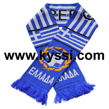 Greece National Flag Knitted Jacquard Football Scarf Buy Football