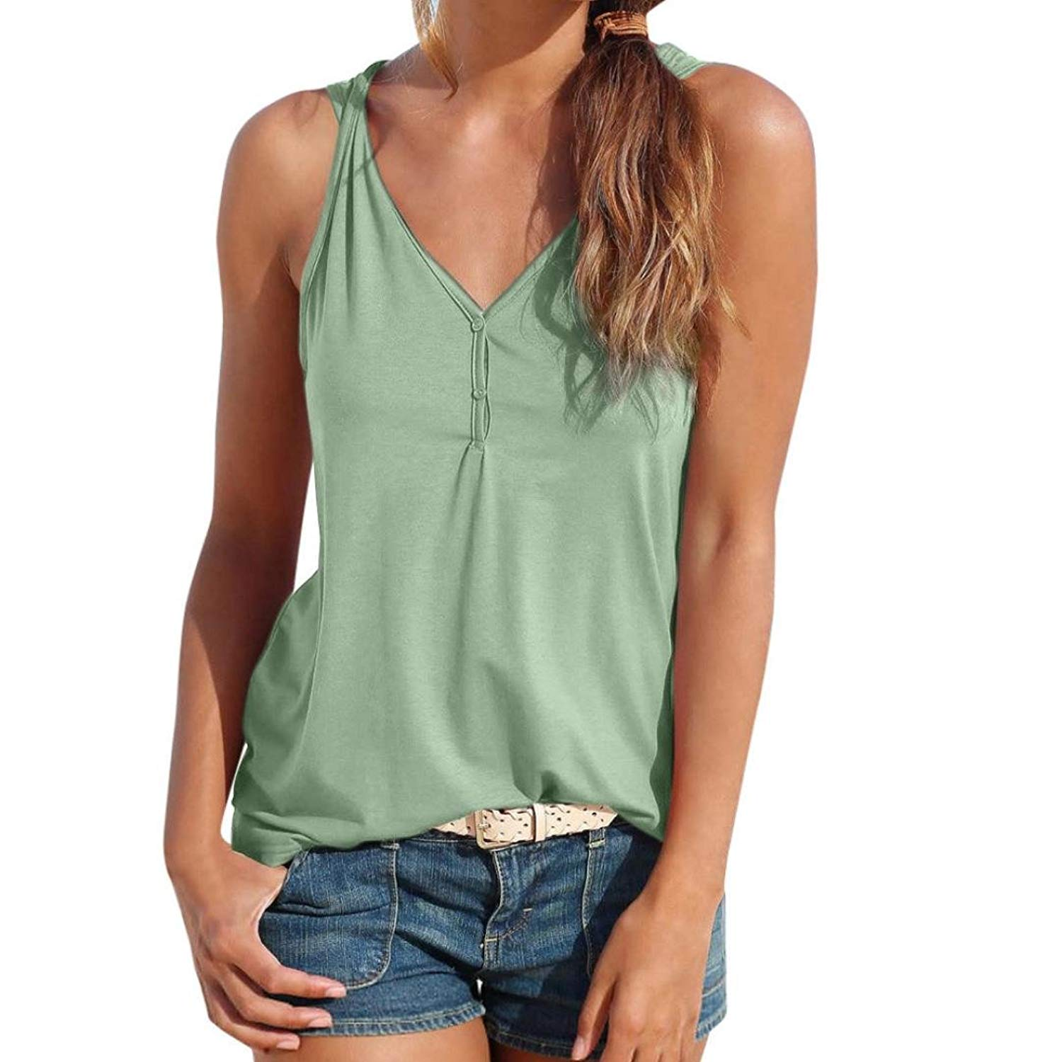 WM & MW Summer Womens Vest Top Sleeveless Solid Sexy Henley Button V-Neck Shirt Blouse Casual Tank Tops