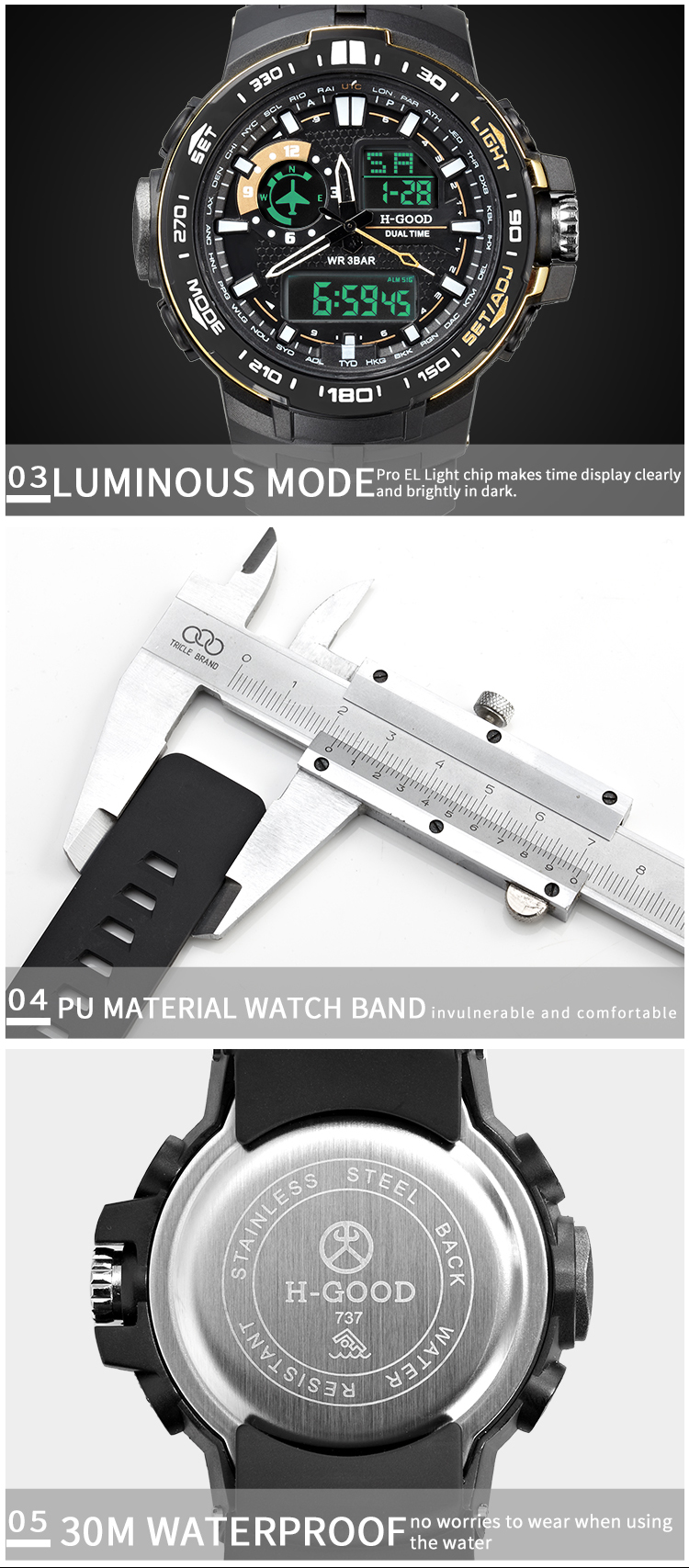 2019 Hot selling stainless steel buckle watches PU band wrist low price H-Good 737