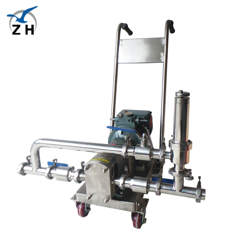 Sanitary stainless steel rotor pump lobe pump with trolley and safety valve