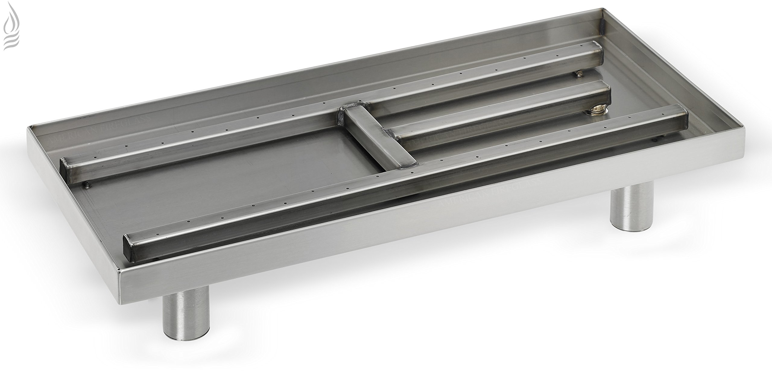 American Fireglass Rectangular Indoor/Outdoor Stainless Steel Fireplace Pan Burner (SS-R-22), 22-Inch