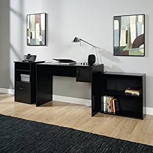 3-Piece Office Set, Black, Includes Bookcase, Desk and Storage Cabinet, Bookcase Has 1 Adjustable Shelf, Storage Cabinet Features an Adjustable Shelf and a File Drawer