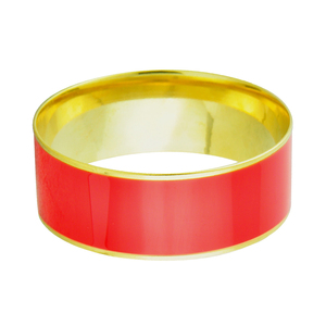 Popular Round Shape Red Resin Gold Stainless Steel Bangle