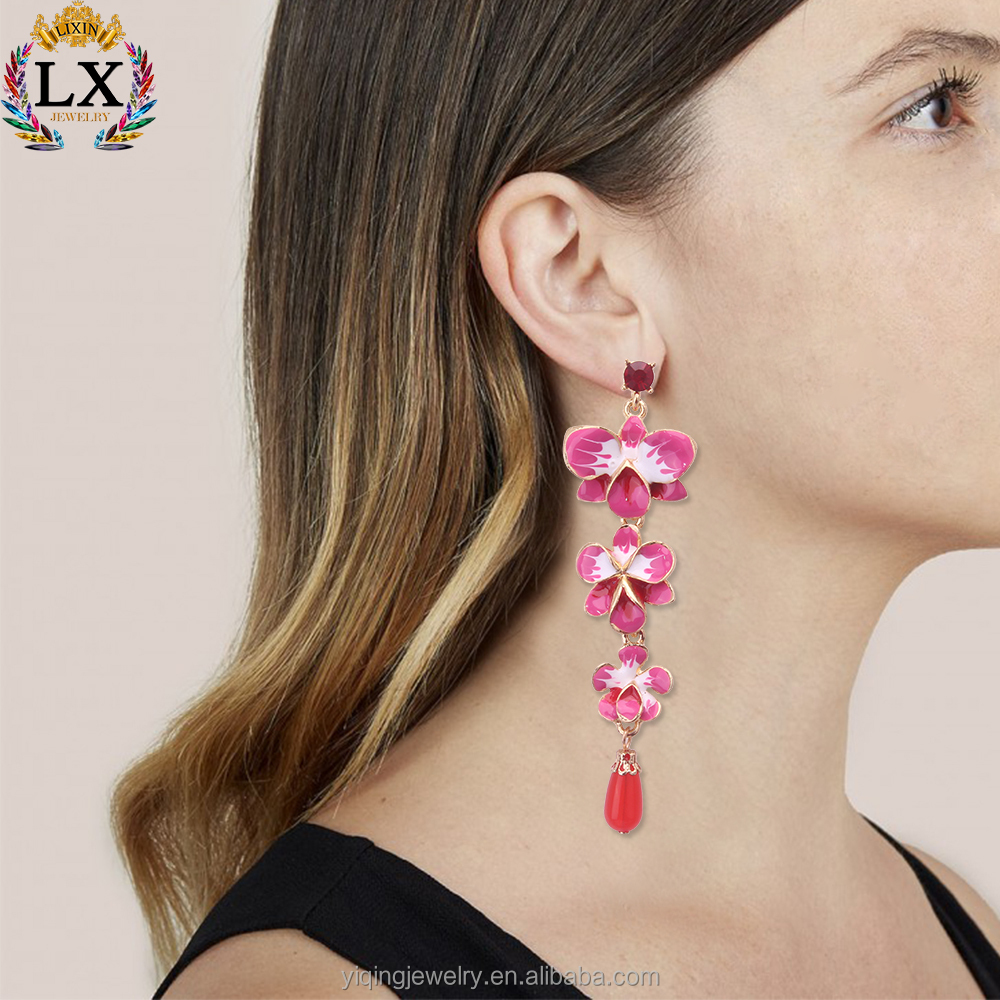 EYQ-00601 gold plating ruby custom enamel earrings enamel flower earrings