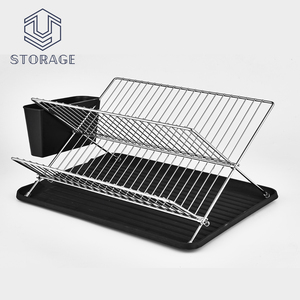 decorative adjustable magnet dish drying rack, folding wire plate and cup rack ,kitchen utensil rack for restaurant