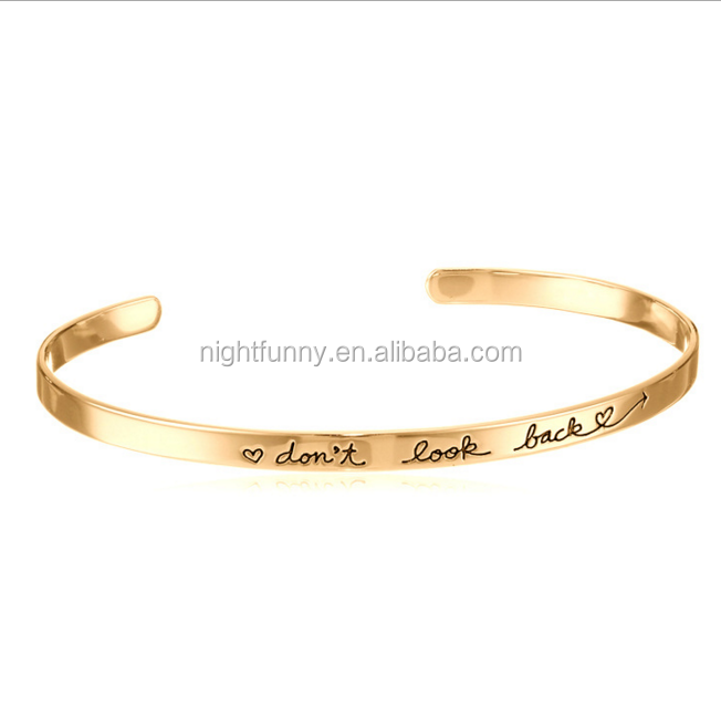 Custom Womens Engraved Word Inspirational Bracelet ,Rose Gold Plated Engraved Cuff,Hand Stamped Bangle