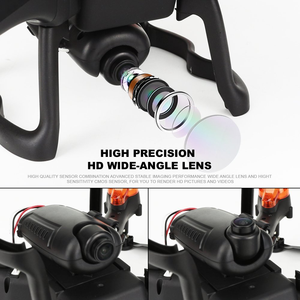 Hanbaili FQ20W DIY Assembly Set High 720P WIFI FPV Camera Real-time Transmission, One Key Return Set High Function Cool Lights Headless Mode Drone for Trainning(Color Random)