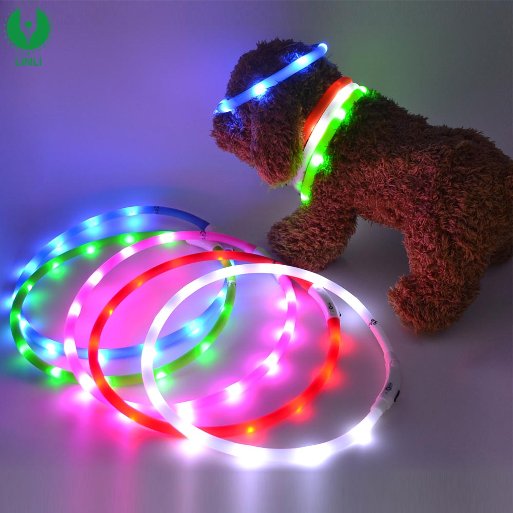 2017 Hot Selling Silicone Flashing Rechargeable Led Pet Dog Collar