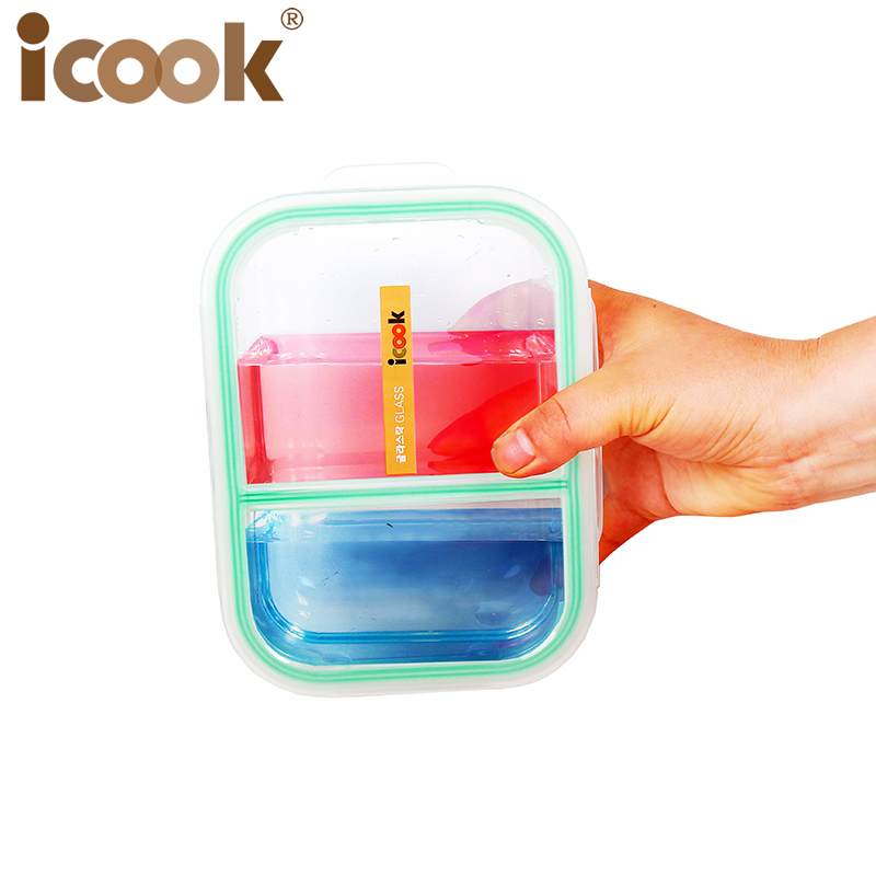 New Products 2 Full Comparmet Glass Containers And School Glass Lunch Box