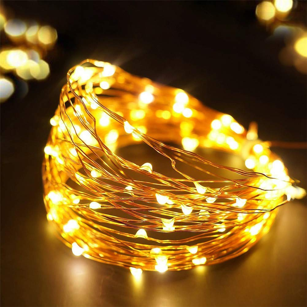 AIMENGTE LED String Lights USB, LED Fairy Lights, 50 LEDs/100 LEDs 16.5ft /33ft LED Starry Lights Copper Wire Christmas DIY Decorative Night Lamp Indoor for Bedroom, TV. (16.5ft /50 LEDs, Warm White)