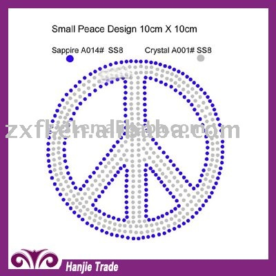 Customized Hotfix Crystal Transfer with Peace Design For Garments in Hot Selling