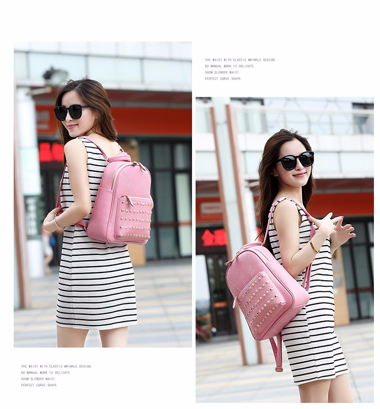f2af277abe Baby Pink Brand Name Back Pack Bag Genuine Leather Backpack for Women