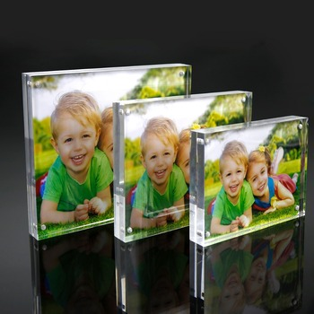 Acrylic Picture Frame 5x7, 20% Thicker Block Clear Double Sided Acrylic Photo Frames Frameless Desktop Display with Gift Box Pac