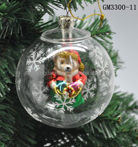 80mm clear ball with hanging polar bear christmas decoration