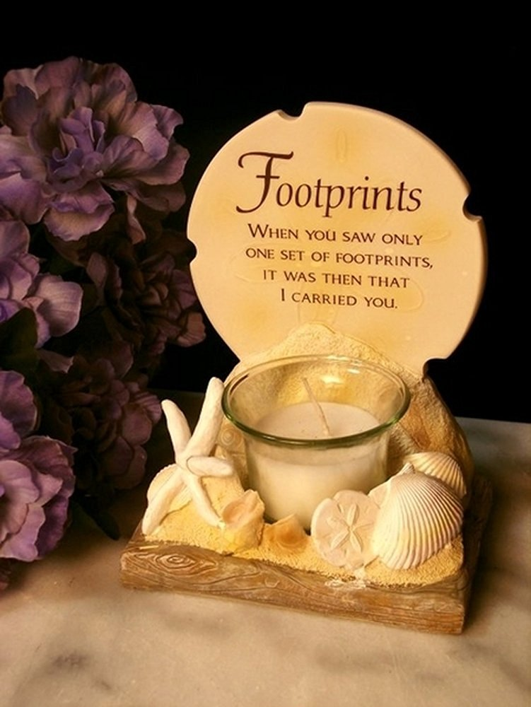 Iwgac Stone Resin Footprints Poem Votive Candle Holder Home Decor